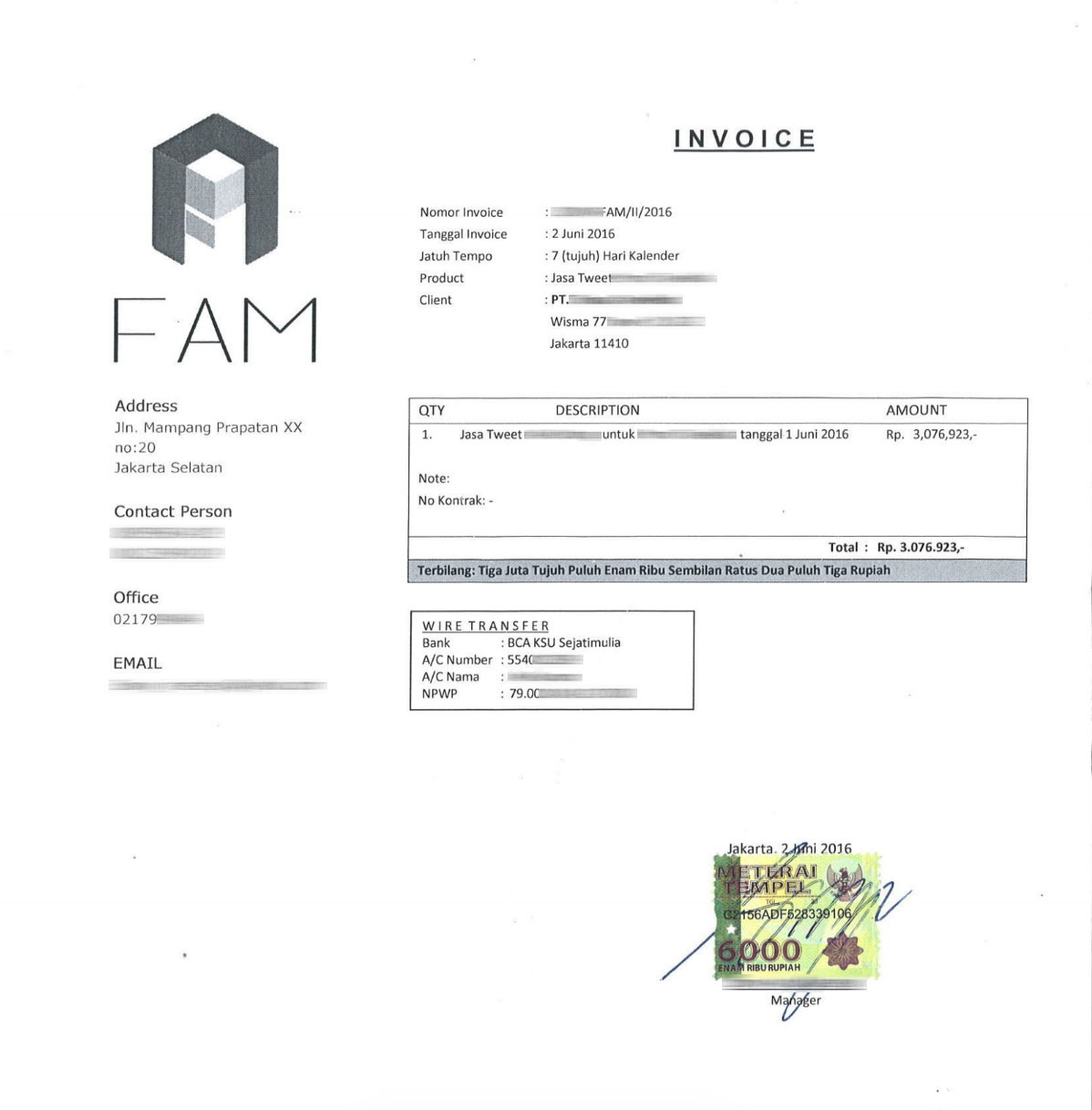 Contoh Invoice Tagihan Gaji - Xmast 3